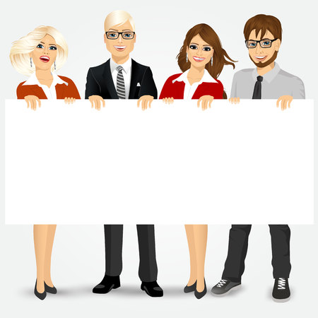 group of businesspeople holding a blank billboard Illustration