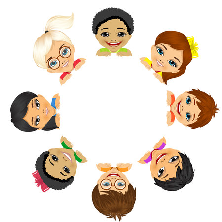 multi ethnic group: multi ethnic group of children holding a white round billboard Illustration