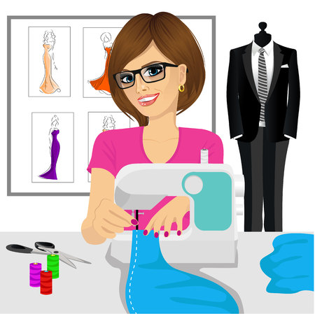 designer at work: attractive young fashion designer dressmaker woman using sewing machine to sew a blue tissue Illustration