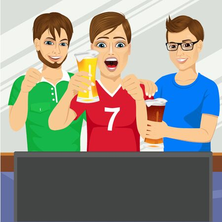 three friends: illustration of three young friends watching sports game on television together and drinking beer