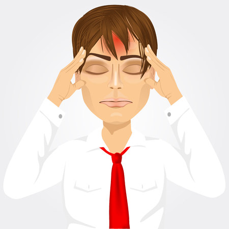 exhaustion: portrait of businessman touching his temples suffering a terrible and painful headache isolated over white background Illustration
