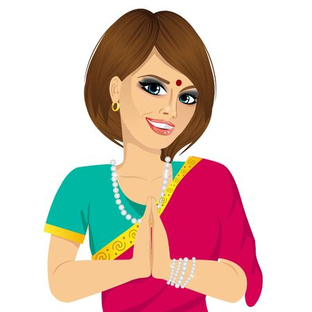 fashion portrait: portrait of Traditional Indian woman holding hands in prayer position Illustration
