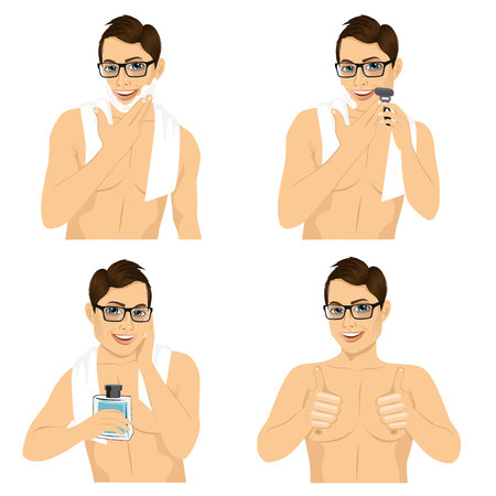 male grooming: four steps of hipster man with glasses shaving his face over white background