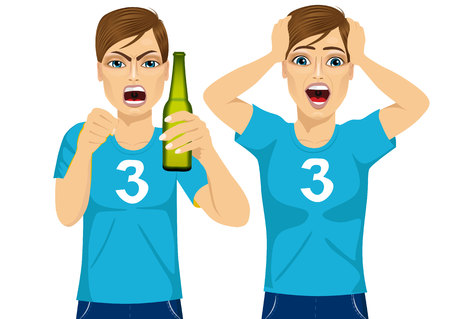 screaming head: young man in two different poses watching sports on tv grabbed his head screaming and drinking beer - sports, happiness and people concept