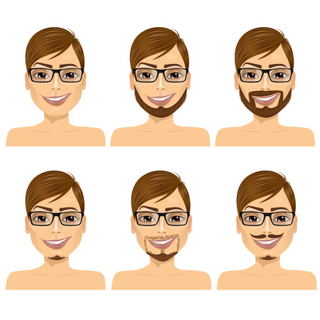brown haired: set of handsome brown haired man with glasses and different beard styles