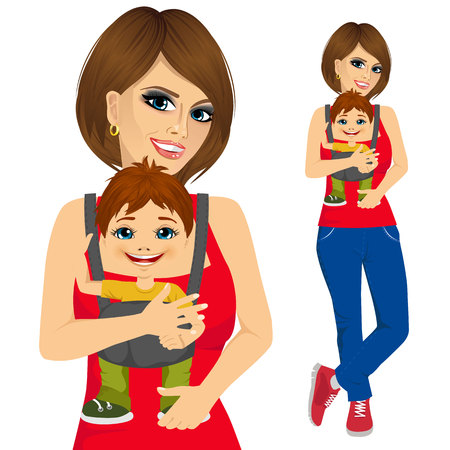 mother holding baby: portrait of mother holding little boy with baby carrier isolated on white background