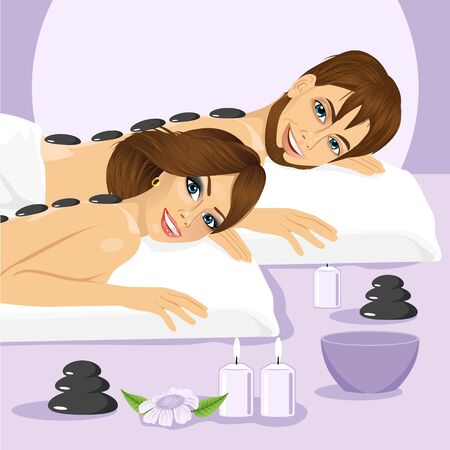 spa salon: illustration of attractive young couple on a spa enjoying hot stone massage treatment