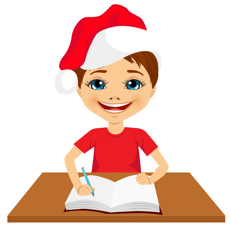 teenagers only: portrait of cute little caucasian student boy wearing santa hat writing something and smiling happy sitting at the desk Illustration