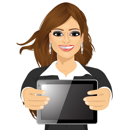 horizontal position: portrait of attractive businesswoman displaying tablet in horizontal position isolated on white background
