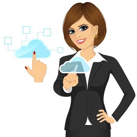accessing: portrait of attractive businesswoman touching the cloud accessing on line networking services concept