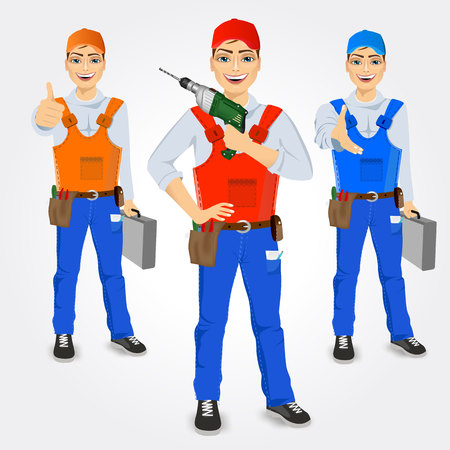 handymen: set of handymen holding green drills and tool cases isolated on white background Illustration