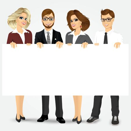 businesspeople: group of businesspeople holding a blank billboard Illustration