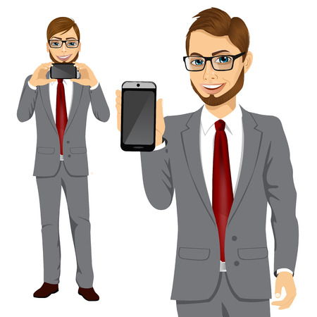 displaying: portrait of young attractive businessman displaying his smartphone on horizontal and vertical position Illustration