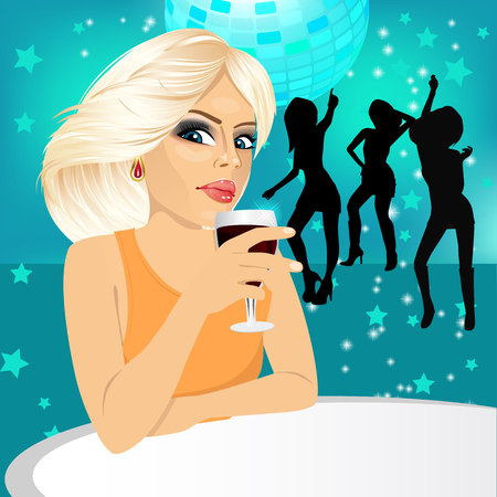 woman drinking wine: side view of blonde woman drinking wine during a disco party
