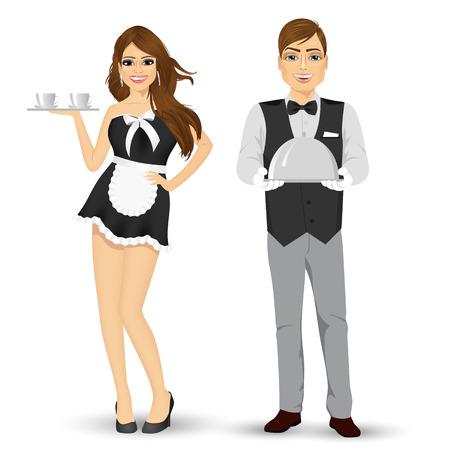 portrait complet du corps de Butler tenant plateau d'argent et la servante servir le café isolé sur fond blanc