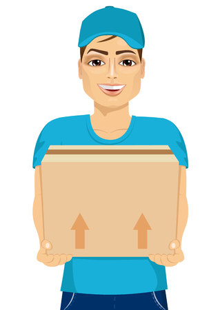 cardbox: portrait of friendly young delivery man holding and carrying a cardbox Illustration