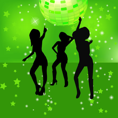 nightclub: illustration of dancing silhouettes of woman in a nightclub