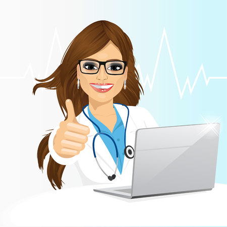 Portrait of young female doctor with glasses using her laptop computer isolated on white background