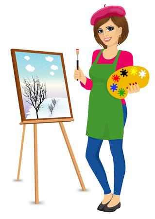 portret van aantrekkelijke vrouwelijke schilder kunstenaar bedrijf palet en penseel zich dichtbij schildersezel Stock Illustratie