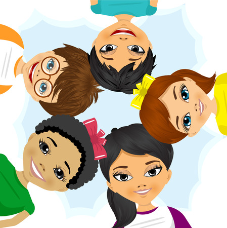 illustration of multi ethnic group of children forming a circle together from low angle view