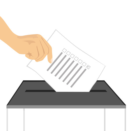 voter registration: illustration of a hand putting ballot paper in ballot box isolated on white background