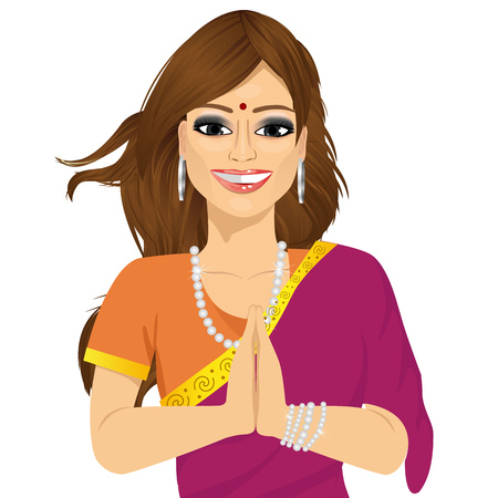 saree: portrait of Traditional Indian woman holding hands in prayer position Illustration