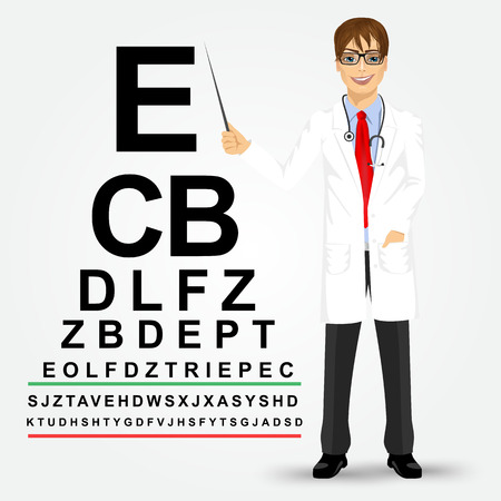 snellen: Handsome professional male optician with glasses pointing to snellen chart isolated on white background Illustration