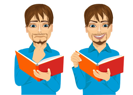 eyes looking down: portrait of handsome man focused reading interesting book with hand on chin and smiling Illustration