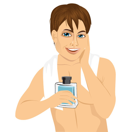 stubble: portrait of happy man applying lotion after shave on his face over white background