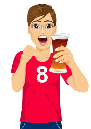 supporting: young man watching sports on tv and supporting team at drinking beer - sports, happiness and people concept