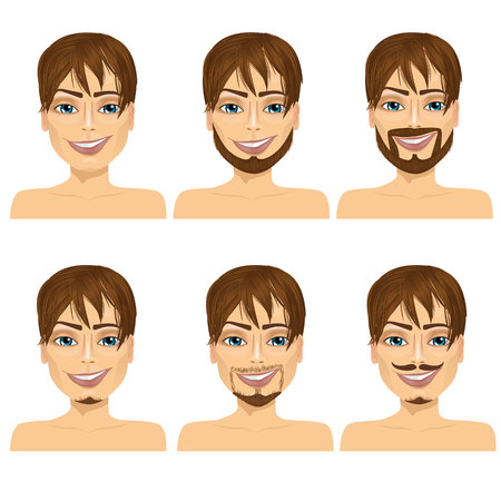 brown haired: set of handsome brown haired man with different beard styles