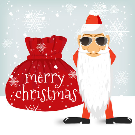 christams: illustration of Santa Claus standing near Christmas bag with gifts Illustration