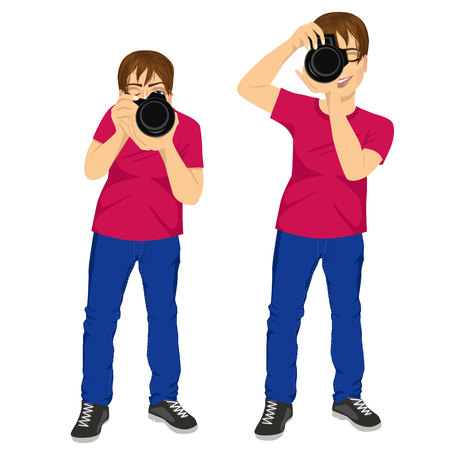 squinting: portrait of professional young photographer man taking photos in two different poses, isolated on white background