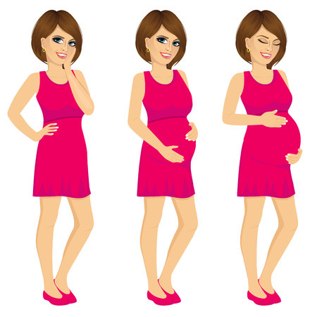 touching: Attractive pregnant woman in purple dress showing pregnancy growing process touching her belly