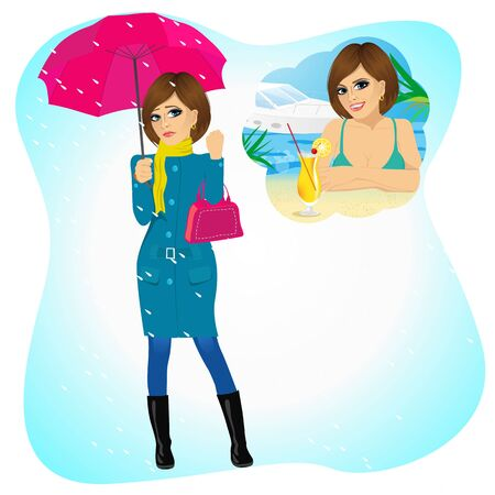 scarf beach: Attractive sad woman standing with an umbrella and handbag in the rain longing for sunny summer beach vacations Illustration