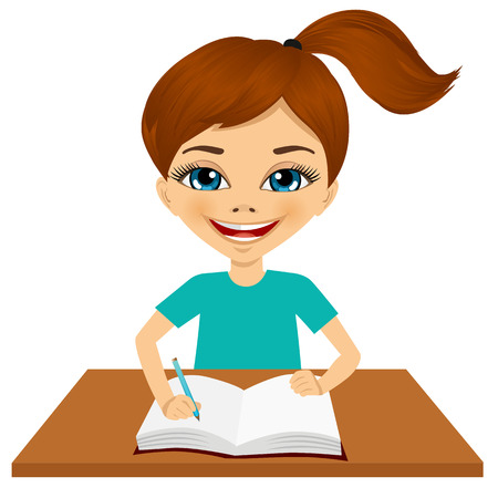 only one teenage boy: portrait of cute little caucasian student girl writing something and smiling happy sitting at the desk Illustration