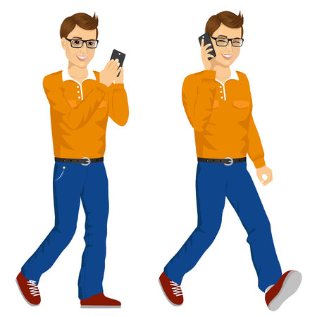 answering phone: illustration of two happy young men with glasses walking with smartphone chatting and answering phone call Illustration