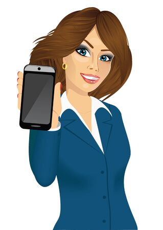 displaying: portrait of beautiful brunette businesswoman displaying her smartphone isolated on white background