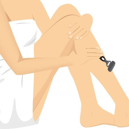 young woman legs up: closeup of beautiful woman razoring legs with a grey razor Illustration