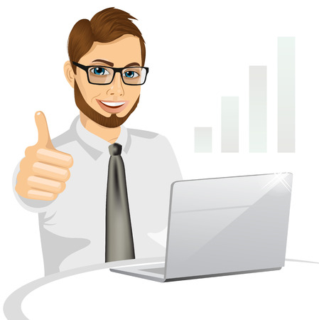 side view of a hipster business man working on laptop and making the ok gesture isolated on white background