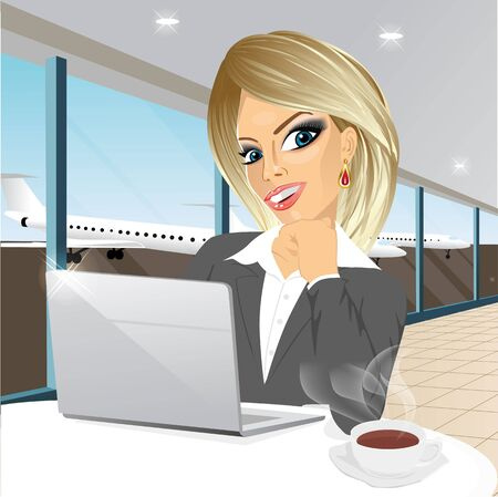 attractive woman: beautiful young blonde businesswoman working at laptop in restaurant and drinking a coffee at airport Illustration