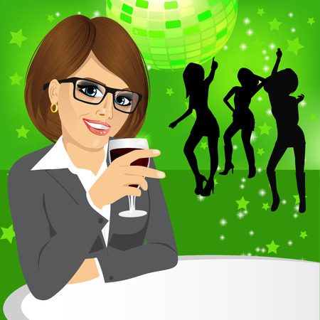 woman drinking wine: side view of business woman with glasses drinking wine during a disco party