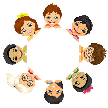 happy face: multi ethnic group of children holding a white round billboard Illustration