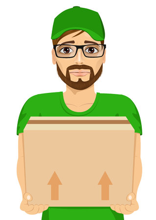 cardbox: portrait of sad young delivery man holding and carrying a cardbox Illustration