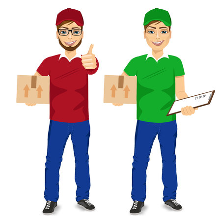green man: full body portraoit of delivery man carrying mail package holding clipboard and showing ok gesture in two different version