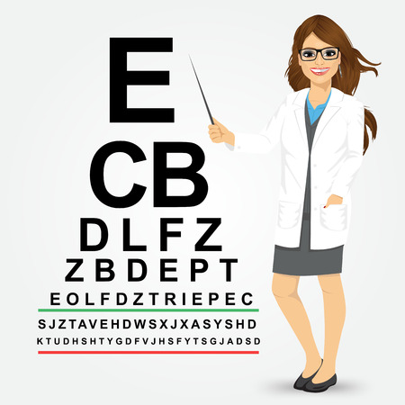indian professional: Attractive professional female optician pointing to snellen chart isolated on white background Illustration