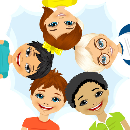 mixed race: illustration of multi ethnic group of children forming a circle together from low angle view