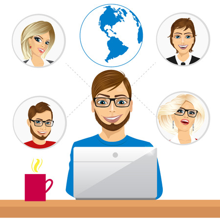 coworkers: illustration of young freelancer working in collaboration with coworkers over internet