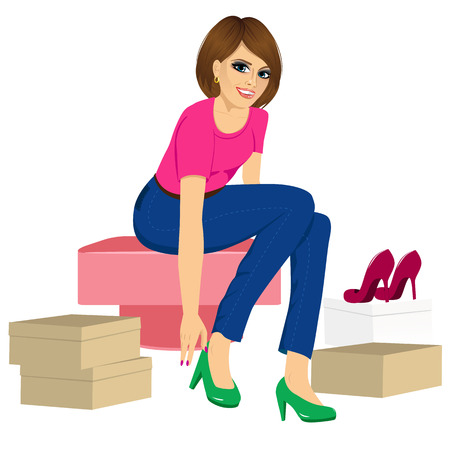 trying: attractive brunette woman trying many fashionable shoes
