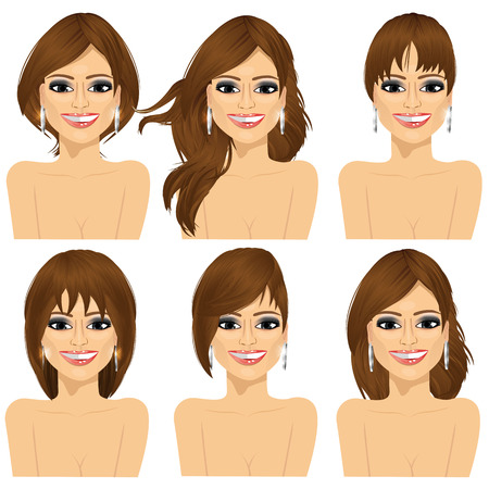 wigs: set of beautiful girl with collection of different hairstyles Illustration